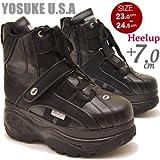 YOSUKE ヨースケ mommou コラボ 厚底 スニーカー ブーツ プラットフォーム 厚底ブーツ スケッチャーズタイプ 厚底シューズ 24.0cm ブラックマルチ