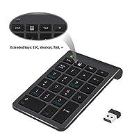 ワイヤレス数字キーパッドポータブルワイヤレスミニキーボード、iMac、MacBooks、PCおよびラップトップ(ブラック)のための2.4GミニUSBレシーバーと22キー