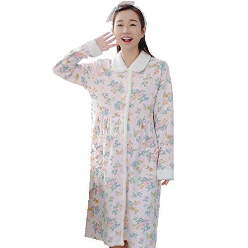 [해외](아비코) ABICO 출산 잠옷 겨울 우아한면 수유 잠옷 꽃 무늬 수유 의류 수유 입으있는 전 열고 편안한 실내복 두꺼운 긴 길이 룸웨어 룸 원피스/(Avico) ABICO Maternity Negriga Winter Elegant Cotton Breastfeeding Sleepwear Floral Pattern Nur...