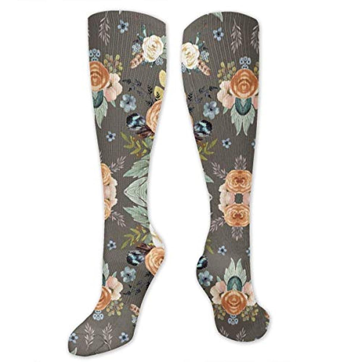 ファイバ小麦電話靴下,ストッキング,野生のジョーカー,実際,秋の本質,冬必須,サマーウェア&RBXAA Western Autumn More Florals Taupe Socks Women's Winter Cotton Long...
