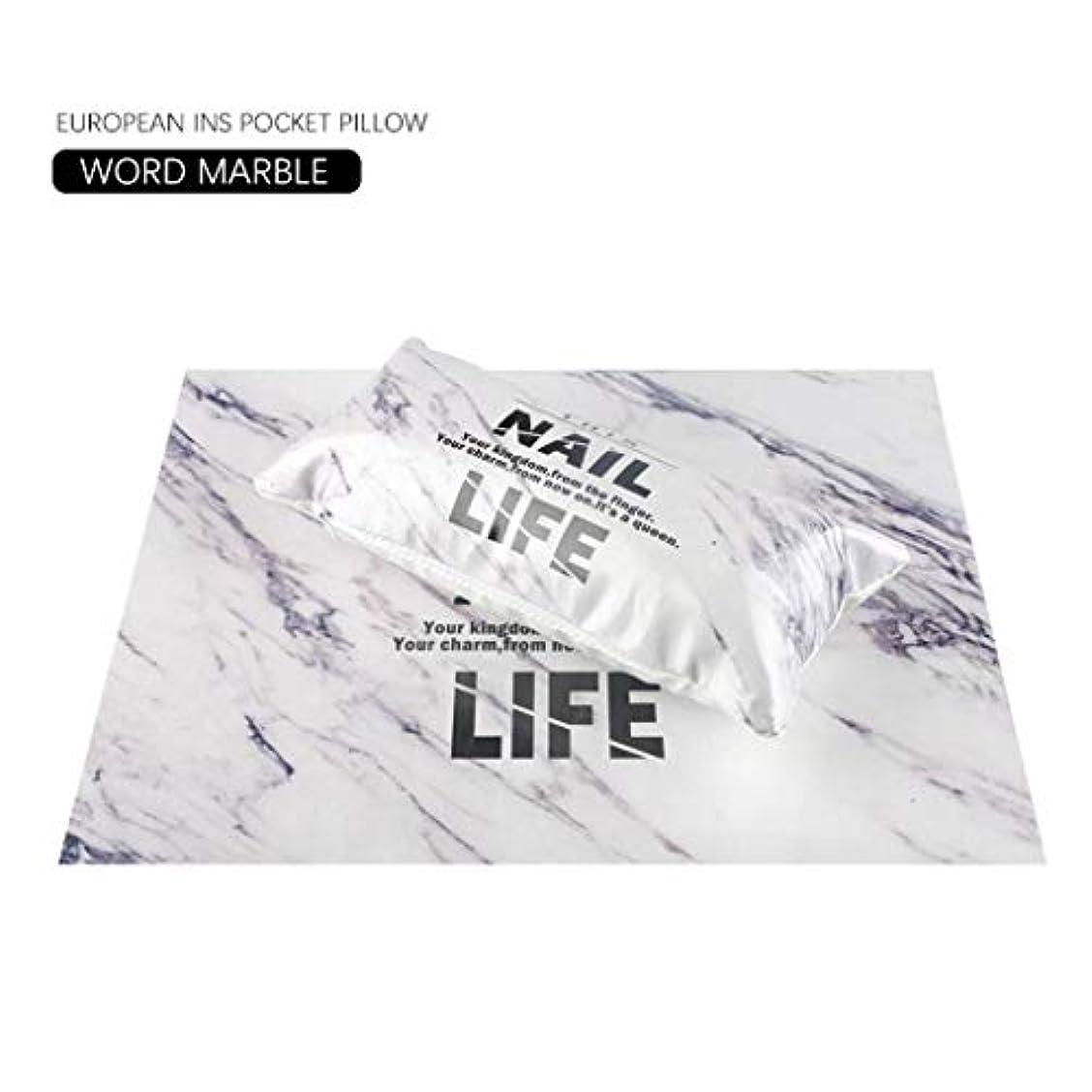 繰り返した稚魚スムーズに欧州INS風マニキュアハンド枕ネイルセット手首枕スポンジ (大理石)