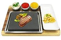 Fecihor調理ステーキストーンセットホットストーングリル用ステーキを含むディップボウル竹サービングトレイステンレス鋼の盛り合わせ
