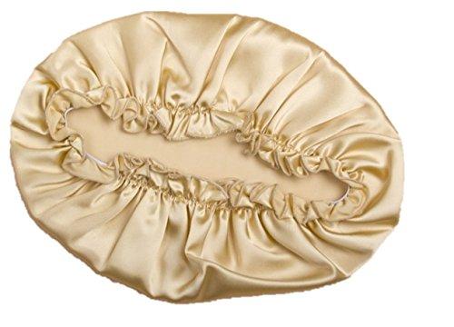 〔Verdure〕 シルク 100% ナイトキャップ 就寝用帽子 切れ毛 枝毛防止 対策 (ゴールド)