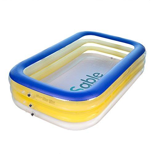 Sable ファミリープール 子供用プール 長さ228x幅140x高さ46cm 家庭用 プール 水遊び 大人2人 子供3-5人 PVC素材 修補パッチ付き SA-HF025
