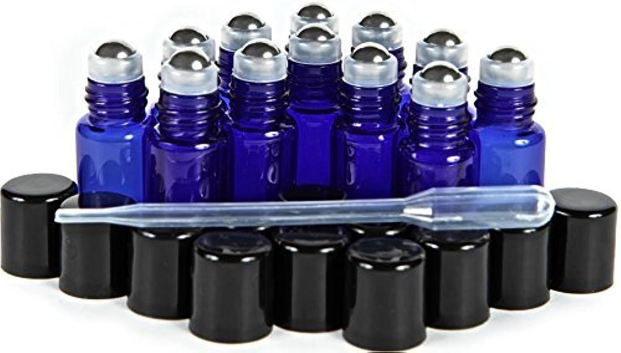 厚くするスリンク大腿Vivaplex, 12, Cobalt Blue, 3 ml Glass Roll-on Bottles with Stainless Steel Roller Balls - Dropper included … [...