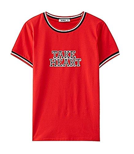 Tシャツ レディース トップス 英字 プリント シンプル ラウンドネック 半袖 夏 かわいい おしゃれ K14843 (レッド, M)