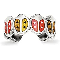 Lex & Lu Sterling Silver Red & Orange Enameled Ladybug Toe Ring