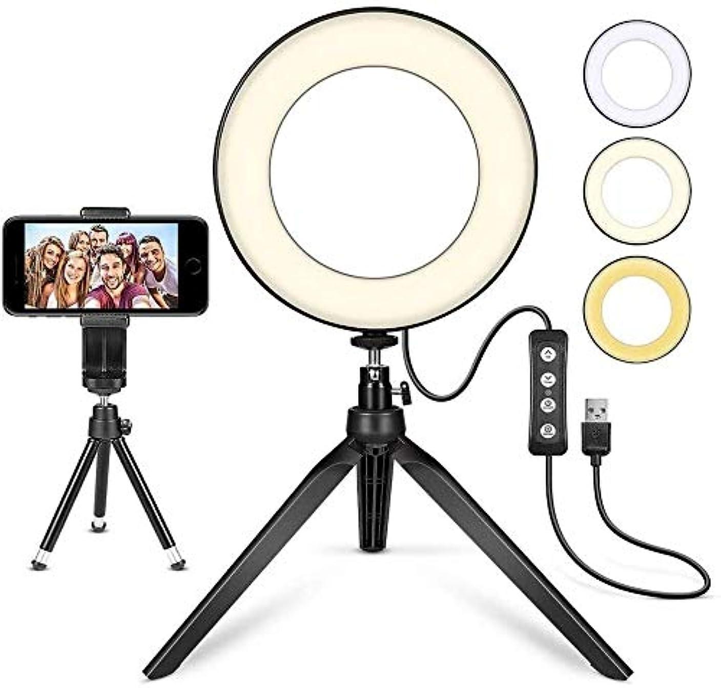ページェント献身ヘッジ電話ホルダーと自分撮り光リング ライブストリーミングメイク動画を写真のための自分撮りリングライト調スタンド携帯電話ホルダーミニLEDリングライトカメラ 自分撮り用照明
