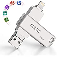 SULET USBメモリ USB3.0 128GB USBフラッシュメモリ 3-in-1 USBメモリ 一本三役 iOS/Android/コンピュータ/車に対応 iPhone/iPad/iPod touchの容量不足解消 亜鉛合金(シルバー)