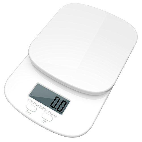 Bengoo デジタルクッキングスケール 2kg(0.1g単位/2000gまで) キッチン はかり 真っ白 超精密 計量秤 超小型 風袋機能 オートオフ機能 料理教室用 厨房最適