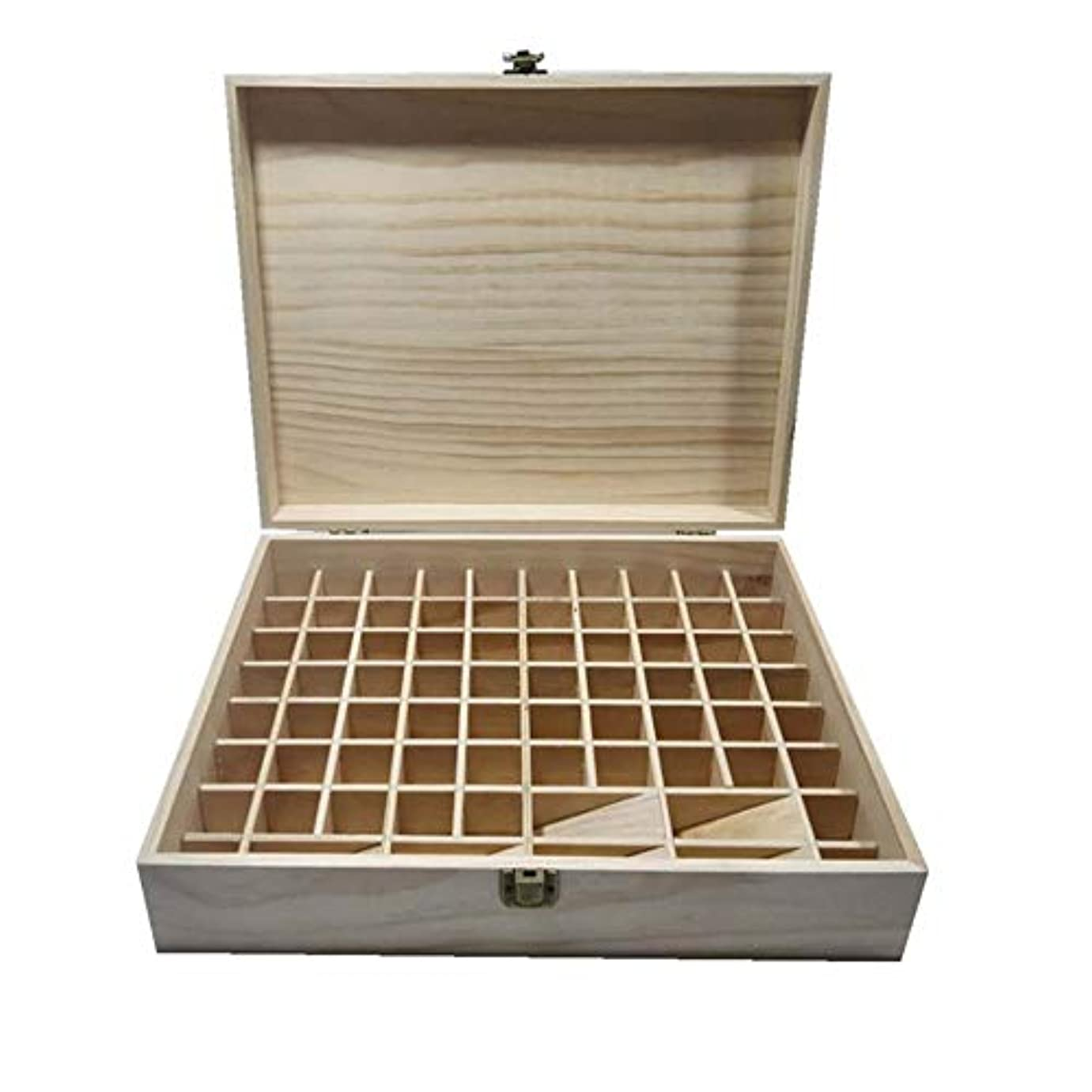 外交しがみつく贈り物エッセンシャルオイルの保管 74スロットエッセンシャルオイルボックス木製収納ケースは、74本のボトルエッセンシャルオイルスペースセーバーの開催します (色 : Natural, サイズ : 34X27.5X9CM)