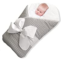 BundleBee Baby Wrap/Swaddle/Blanket, Feather Light/Grey Polka Dot, 0-4 Months [並行輸入品]