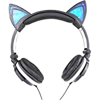 KXP猫耳ヘッドフォン、Cute Glowing点滅cat-ear HDステレオノイズキャンセルヘッドセットover the ear with LEDフラッシュライトforスマートフォン ブラック