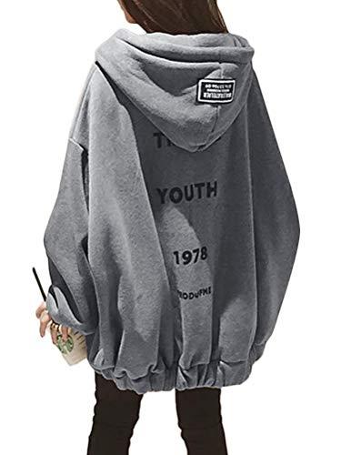 [Minesam] パーカー レディース トレーナー オーバーサイズ フード付き トップス ゆったり 大きいサイズ チャック コート 春秋冬 カジュアル