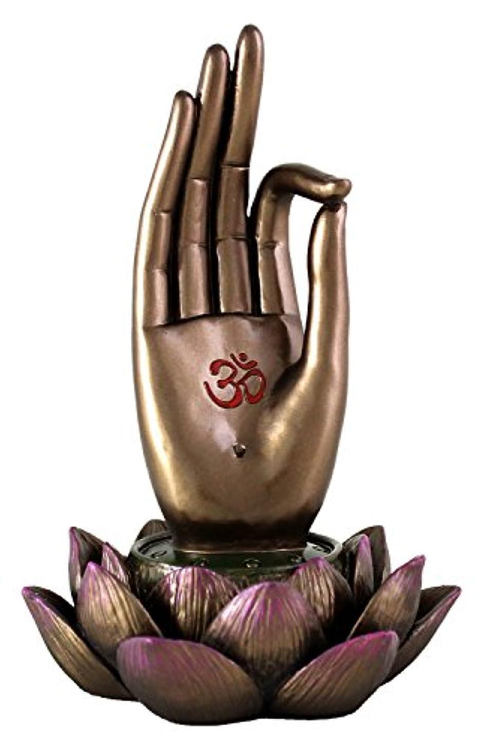 嘆願カード活気づけるBuddha Hand and Lotus Flower Vitarka Mudra Incense Holder Incense Burner