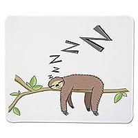 マウスパッドの木こり、樹皮の哺乳類森林の枝の上で眠るレイジーな気分の休息リラクシングのテーマ装飾、ステッチエッジノンススリップラバー