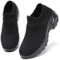 Ezkrwxn Walking Shoes for Women mesh Breathable Comfort Sock Fashion Sport Athletic Running Shoes Ladies Runner Jogging Sneakers Casual Tennis Trainers All Black Size 7