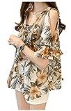 [アンリ] オープンショルダー ブラウス トップス 花柄 シフォン フリル袖 とろみ 涼しげ 夏服 柄物 M~XL レディース