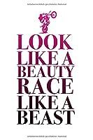 Look like a beauty race like a beast: Tourenbuch fuer Motorradfahrerin | embre Farbverlauf gradient | Geschenk Motorradsport fuer Frauen | Frau
