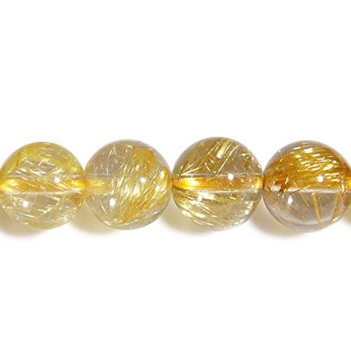 新宿銀の蔵 AAAAAAグレード 金針ルチルクォーツ 8mm天然石 ビーズ (丸玉) 2玉セット 人気 天然石 パワーストーン ハンドメイド 素材 材料