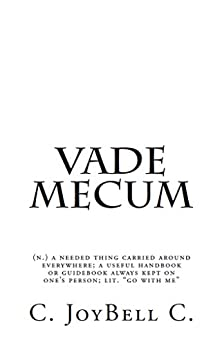 "Vade Mecum: (n.) a needed thing carried around everywhere; a useful handbook or guidebook always kept on one's person; lit. ""go with me"" by [C., C. JoyBell]"