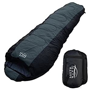 【SOUTH WIND】丸洗いのできる 寝袋 シュラフ マミー型 耐寒温度 -10℃ コンパクト収納 オールシーズン (グレー×ブラック)