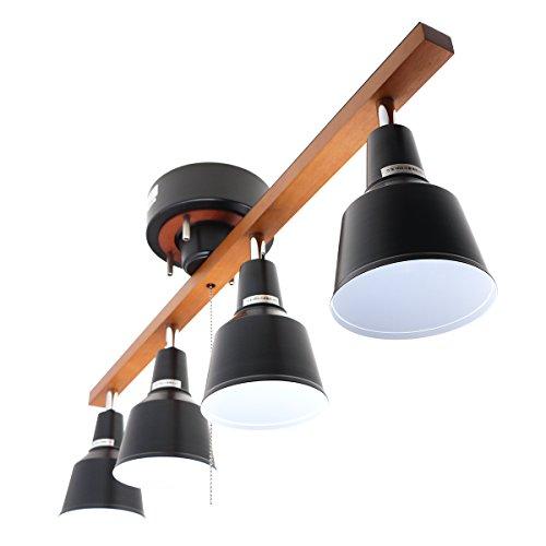 RoomClip商品情報 - 4灯シーリングスポットライト・ウッドフレーム・メタルシェード 【ブラウンフレーム&ブラックシェード】