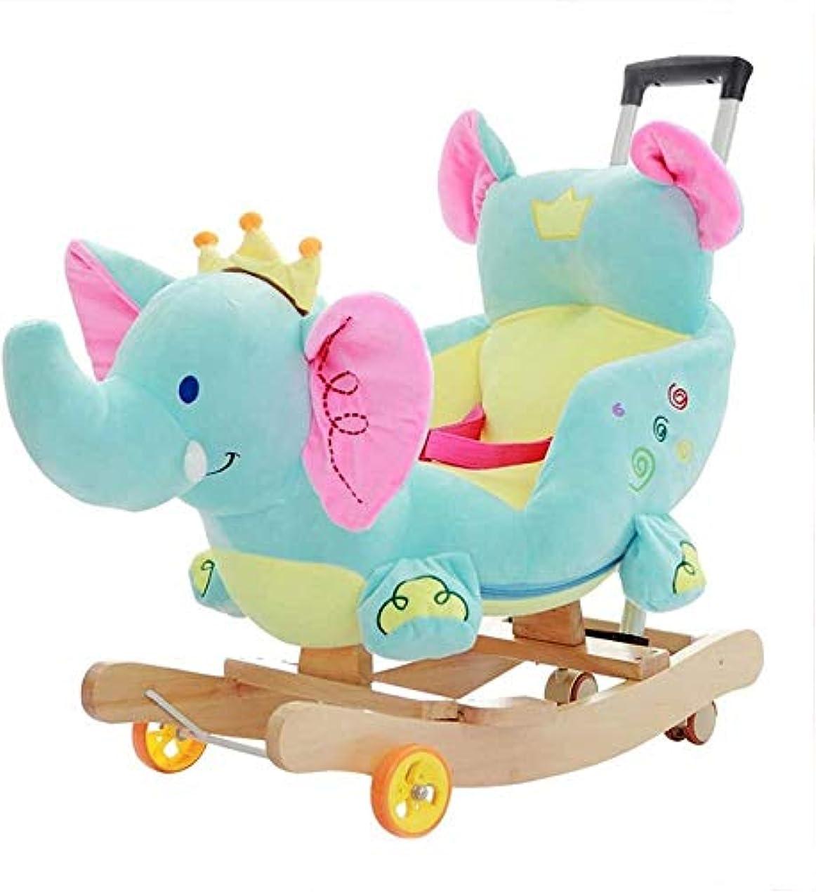 サラミ事業内容解決LINGZHIGAN 6-48ヶ月の子供の男の子と女の子子供キッドロッカーロッカーシートパズル音楽玩具誕生日ギフトのために1デュアル併用ホイール象のロッキングホースで木造2赤ちゃんのロッキングホース