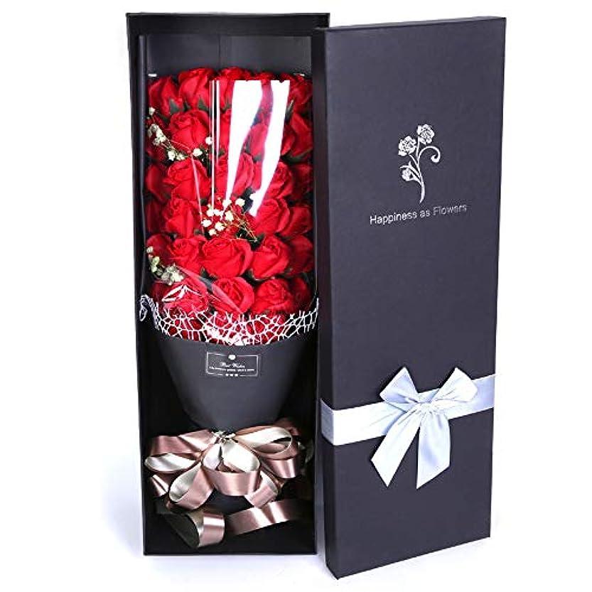 代表する一般典型的な生地と花石鹸の花 ビッグバッチバラ花バレンタインデーのためのエッセンシャルバスソープ花嫁の記念日誕生日母の日 (色 : 赤)