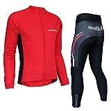 Wellcls サイクルジャージ 長袖 上下セット 自転車 サイクリング (レッド, XXL)
