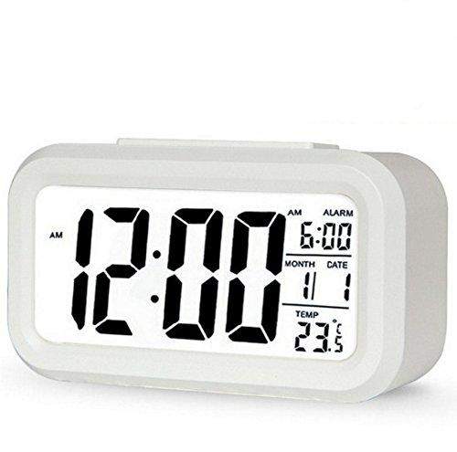 Keepjoy デジタル 目覚まし時計 卓上 デジタル めざまし時計 多機能置き時計 大音量 大画面 夜間バックライト 自動点灯 / 温度計 / アラーム 目覚ましどけい 卓上とけい ホワイト