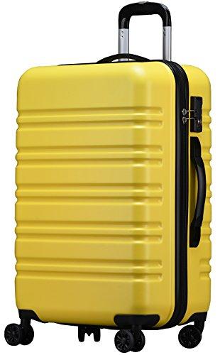 (ラッキーパンダ) luckypanda TY8098 スーツケース 超軽量 ファスナータイプ TSAロック搭載 機内持込 小型 中型 大型 キャリーケース キャリーバッグ 機内持ち込み キャリーバック 旅行カバン 軽量 4輪 s m l サイズ (L, イエロー)