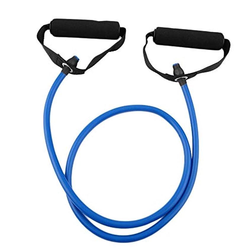 操縦する空洞ケントフィットネス抵抗バンドロープチューブ弾性運動用ヨガピラティスワークアウトホームスポーツプルロープジムエクササイズツール(Color:blue)