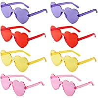 NA 8 Pack Heart Sunglass Love Shaped Sunglasses Transparent Tinted Candy Color Eyewear Frameless Glasses for Valentine's Day Party Cosplay Red Purple Pink Yellow