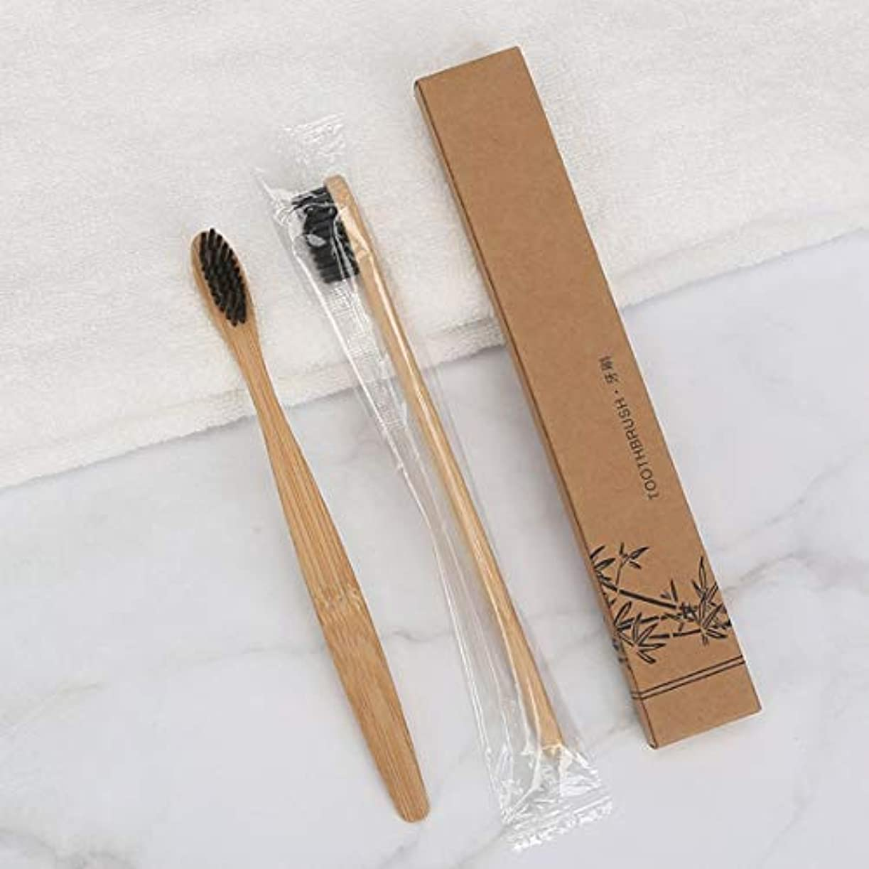 ソケット添加岩竹の歯ブラシ竹の歯ブラシ竹の歯ブラシ天然の竹のハンドル木材健康環境にやさしいやわらかい髪(黒)