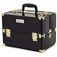 Effleur Premium Cosmetics Makeup Case, Black and Gold