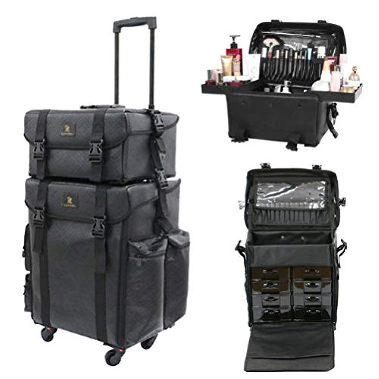 柔和麦芽からかうLUVODI メイクボックス 大容量 プロ コスメボックス 旅行 引き出し 化粧品収納 メイクキャリーケース 美容師 化粧箱 防水 レザー 黒
