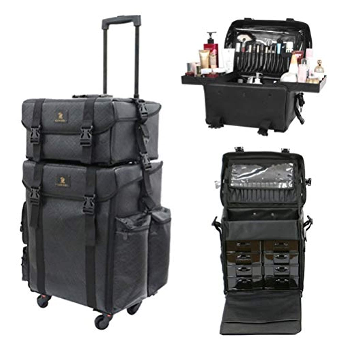 電気的つまらない起きるLUVODI メイクボックス 大容量 プロ コスメボックス 旅行 引き出し 化粧品収納 メイクキャリーケース 化粧箱 持ち運び 防水 レザー 黒