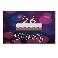 """26歳の誕生日の装飾スタイリッシュなドアマット、鮮やかなメッセージ愛ケーキレトロな挨拶コンセプトグラフィックオフィスオフィス、15.7"""" W X 23.6"""" L 60x40cm"""