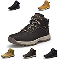 Lapens Men's Winter Boots Waterproof Leather Outdoor Hiking Snow Shoes