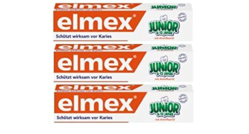 赤外線話をする戸棚3本セット elmex エルメックス 子供用 歯磨き粉 75ml (6歳~12歳)【並行輸入品】