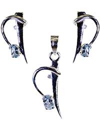 ブルートパーズCZ宝石シルバージュエリーペンダントセットリットル0.7inのspsbto-10002理世 [並行輸入品]