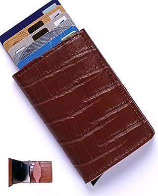 [Migalu]カード入れ メンズ 本革 カードケース 薄型 レザー 革 皮革 スライド式 コンパクト ブランド 正規品 茶クロコ