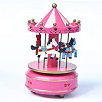 xuanmax回転木製カルーセル音楽ボックス4-horse merry-go-round Toy with Castle in the Sky Melody forクリスマス誕生日バレンタインの日 ピンク MUMA1-ROSE-XM-DE