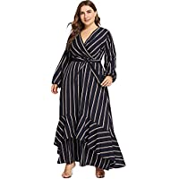 Milumia Plus Size Summer Floral Printed Wrap V Neck Maxi Dress Party Black Empire Waisted Dress