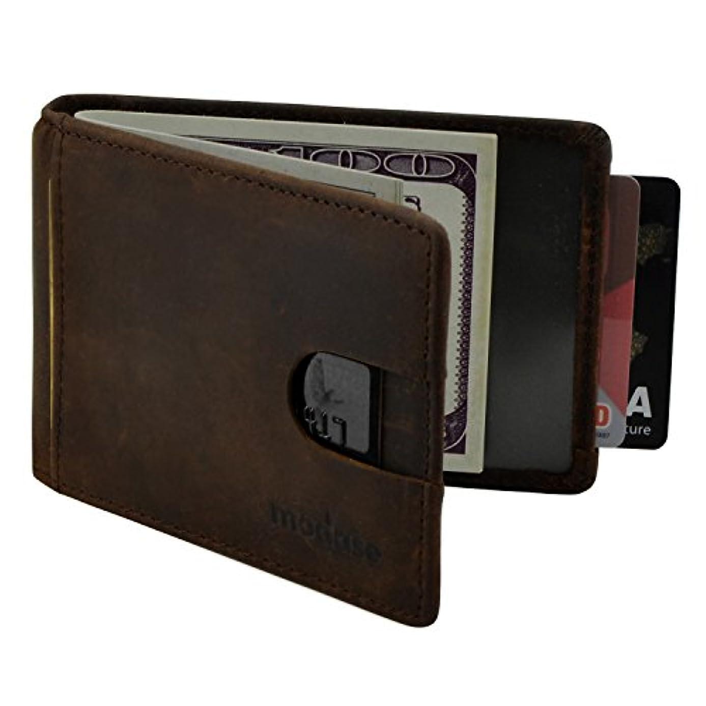 アクセスキロメートルあなたはメンズ財布、modase RFIDブロックスリム本革ウォレットメンズの – 二つ折り財布マネークリップ カラー: ブラウン