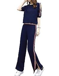 DuWei (ドゥウェイ) レディース カジュアル スポーツレジャー スーツ ゆったり ベアトップ 半袖 Tシャツ チュニック+ ベンツ 運動ズボン 2点セット
