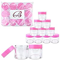 Beauticom 1 oz. 30G/30ML USA Acrylic Round Clear Jars with PINK Flat Top Lids for Creams, Lotions, Make Up, Cosmetics, Samples, Herbs, Ointments (30 Pieces (30 Bottoms & 30 Lids)) [並行輸入品]