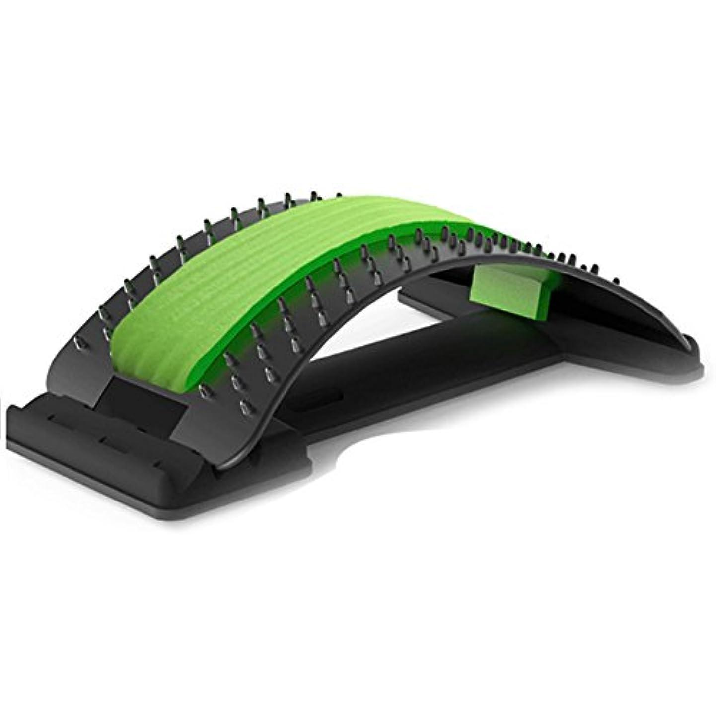 バックマッサージ 腰椎矯正クッション枕 背中バキバキト 腰痛対策 腰部マッサージ 家庭用,オフィスでの使用,ギフトとしても使えます (グリーン)