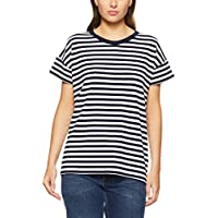 French Connection Women's Cross Back TEE, Nocturnal/Summer WHI